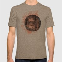 Trees near the river Mens Fitted Tee Tri-Coffee SMALL