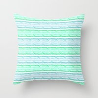 Blue&green Stripes Throw Pillow
