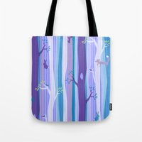 Purple Woodland Stripe Tote Bag