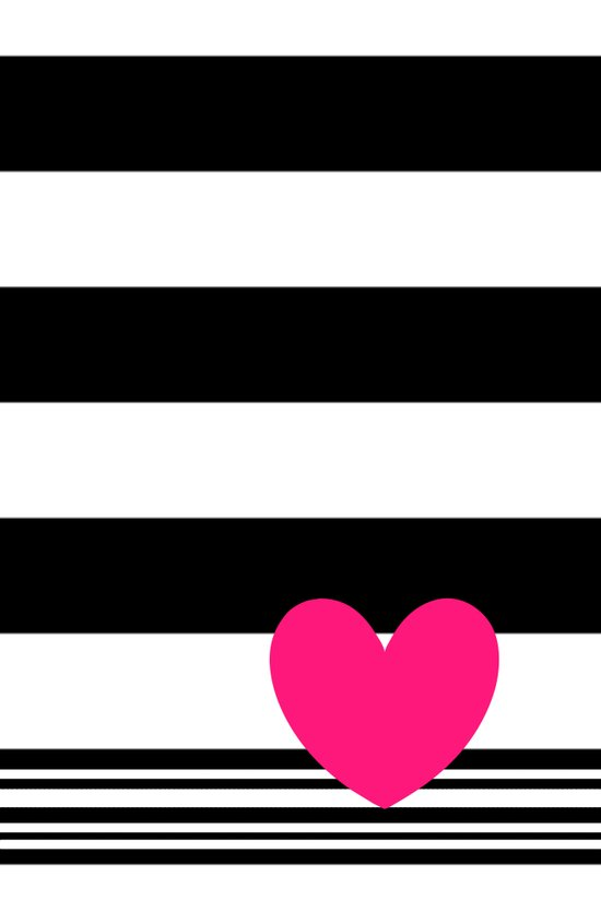 Black and white stripes and neon pink heart Art Print
