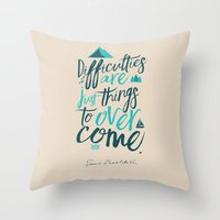 Shackleton Quote on Difficulties - Illustration Throw Pillow