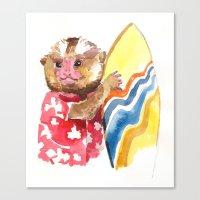 Canvas Print featuring Surfs Up Little Monkey by Becca Kallem