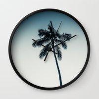 Palm Tree Ver.darkgreen Wall Clock