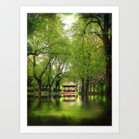 Forest Flood With Bandstand Art Print