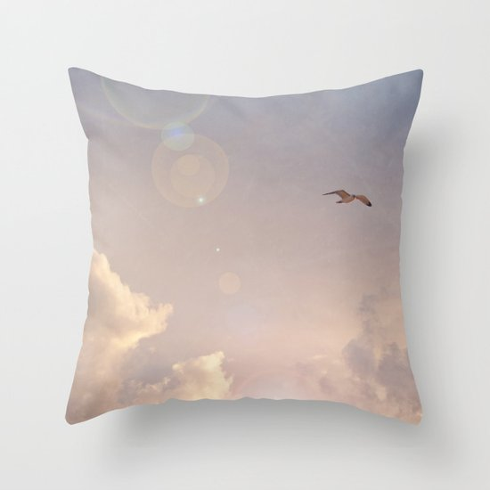 Seagull In the Clouds Throw Pillow