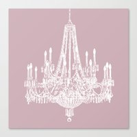 Chic White and Pink Chandelier   Canvas Print