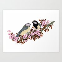 Chickadee Couple on Cherry Branch Art Print