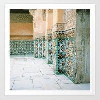 Tiles In Medersa Ben You… Art Print