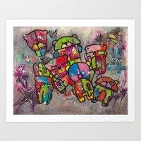 Robot bears Art Print