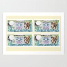 500 lire money note  Art Print