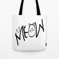 MEOW  typography Tote Bag