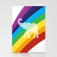 Rainbow with floral elephant Stationery Cards