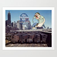 Attack of the 50 Foot Hipster Art Print