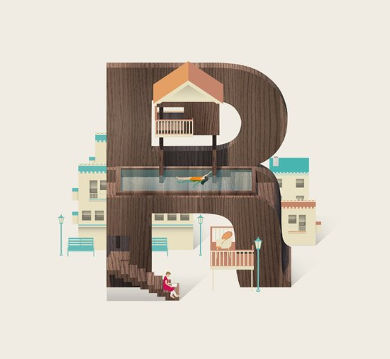 Resort Type - Letter R Art Print