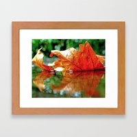 Autumn Leaf Reflected Framed Art Print