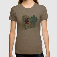 Frenchie Art. Bruno. Womens Fitted Tee Tri-Coffee SMALL