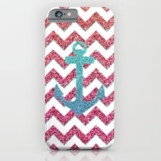 Teal Faux Glitter Anchor Girly Red Ombre Chevron iPhone 6 Slim Case