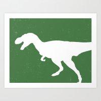 T- Rex Dinosaur Emerald Green  Art Print
