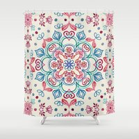 Pastel Blue, Pink & Red Watercolor Floral Pattern on Cream Shower Curtain