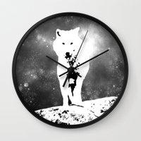 Walking On The Moon Wolf Wall Clock