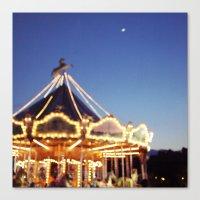 Crescent Moon Over Paris Canvas Print