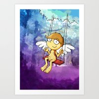 Angel boy on a swing Art Print