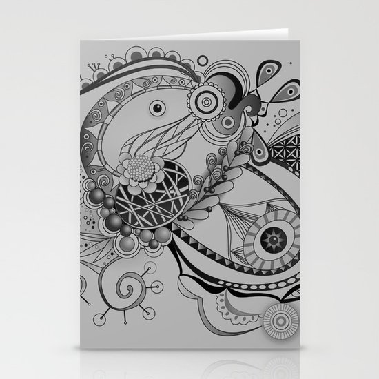 Ornate spring tangle, charcoal grey Stationery Card