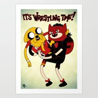 It's Wrestling Time!  Art Print