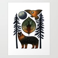 The Bear And The Barn Ow… Art Print