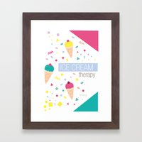 Ice Cream Therapy Framed Art Print