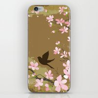 Cute Birds And Cherry Bl… iPhone & iPod Skin