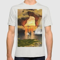 Seascape  Mens Fitted Tee Silver SMALL