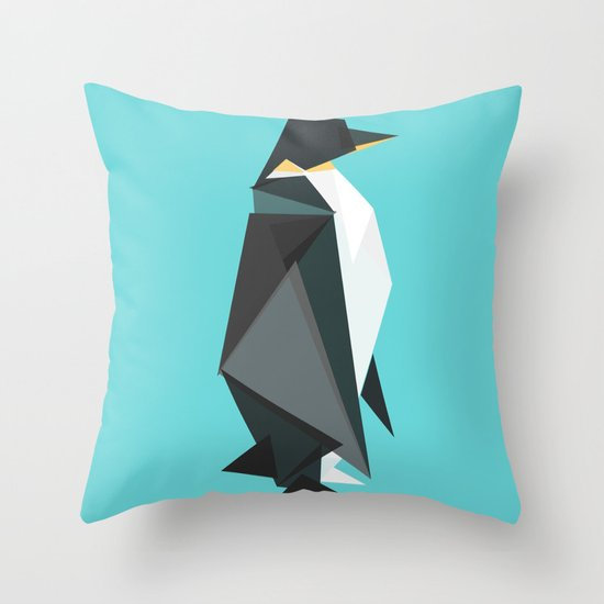 Fractal geometric emperor penguin Throw Pillow