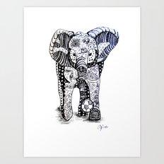 An Elephant Plays Soccer Art Print