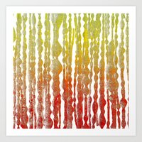 psychedelic stripes - red Art Print