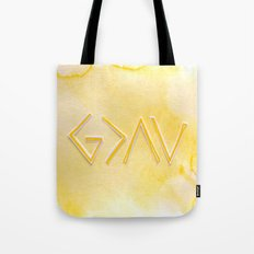God Is Greater Than The Ups and Downs- YELLOW Tote Bag