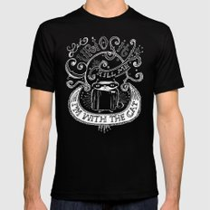 Let Curiosity Kill Me, I'm with the Cat SMALL Mens Fitted Tee Black