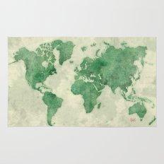 World Map Green Rug