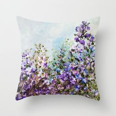 Floral Garden Impressionism in Pretty Purple Throw Pillow
