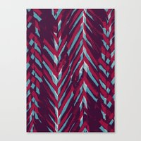 Pink and Blue Painterly Chevrons Canvas Print