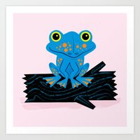 Frog On A Log Art Print