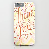 iPhone & iPod Case featuring Thank you - hand lettered on chevron by JMore