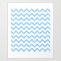 Funky Chevron Blue Patte… Art Print
