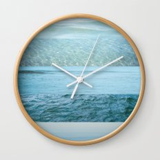 Water Study abstract blue waves Wall Clock