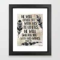He Will Cover You With His Feathers. Black White & Taupe Edition  Framed Art Print