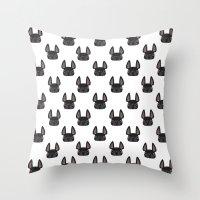 Black Frenchie Pattern Throw Pillow