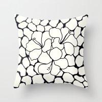 Hibiscus Animal: Ivory  Throw Pillow