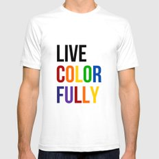 Live Colorfully with Rainbow Colors Mens Fitted Tee SMALL White
