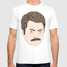 Ron Swanson Mens Fitted Tee White SMALL