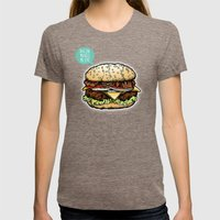 Epic Burger Womens Fitted Tee Tri-Coffee SMALL